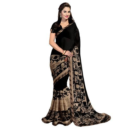 Gorgeous Black Georgette Saree