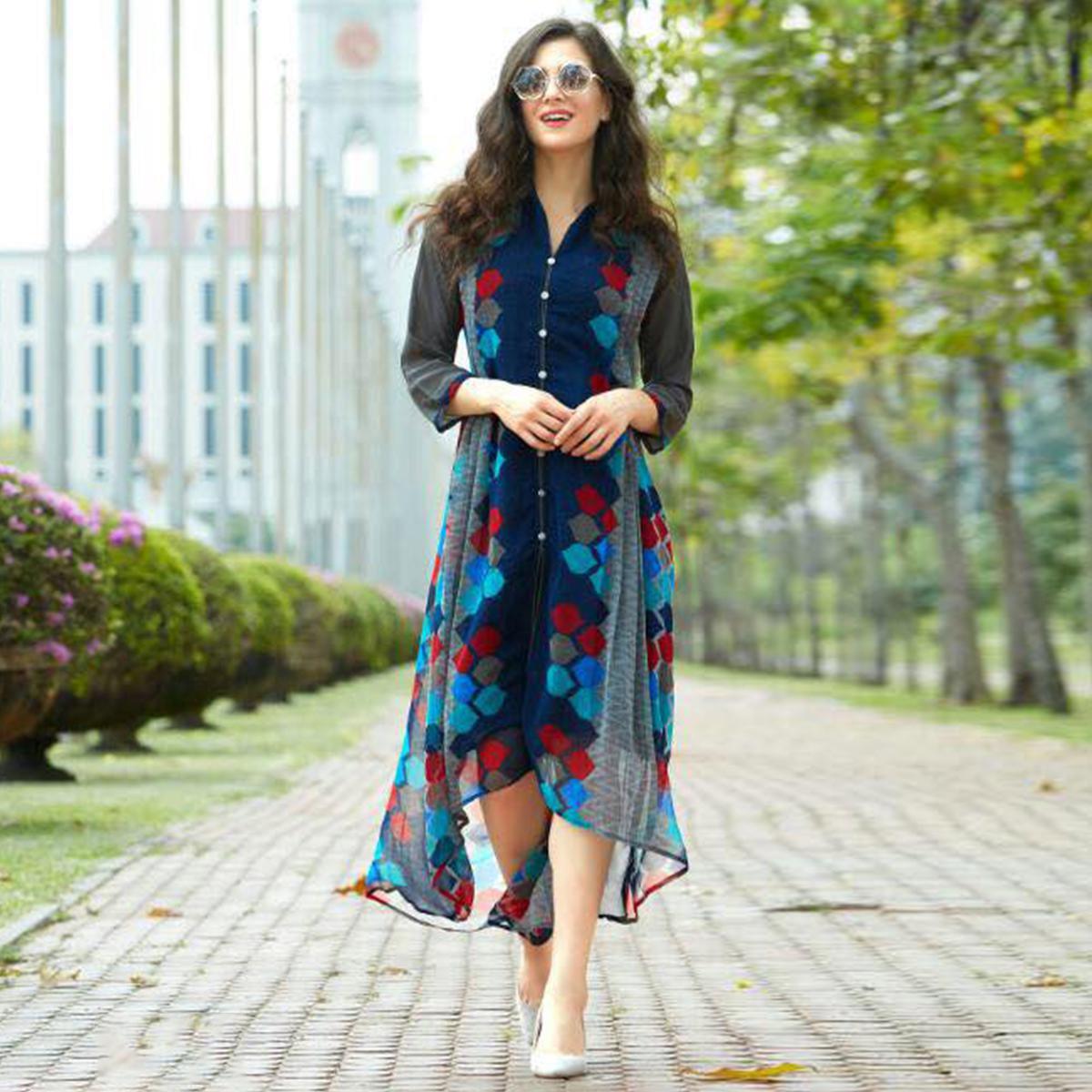 Blue Georgette Kurti in High Low Style