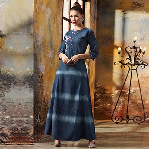 Gorgeous Blue Designer Pattern Embroidered Denim Kurti