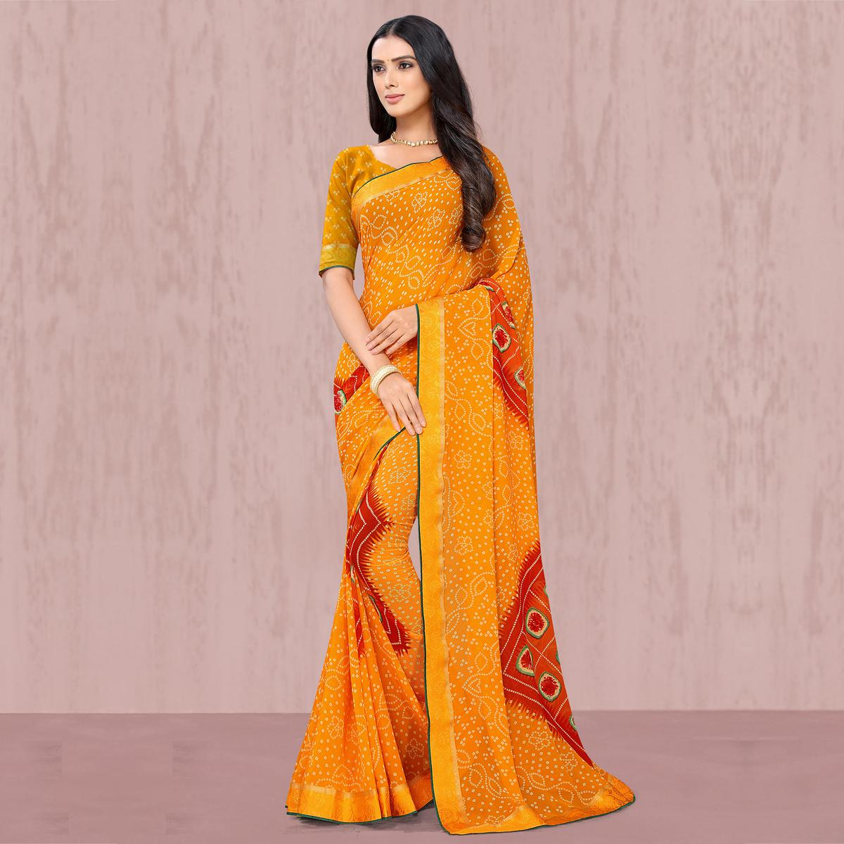 Attractive Yellow Coloured Casual Wear Georgette Saree