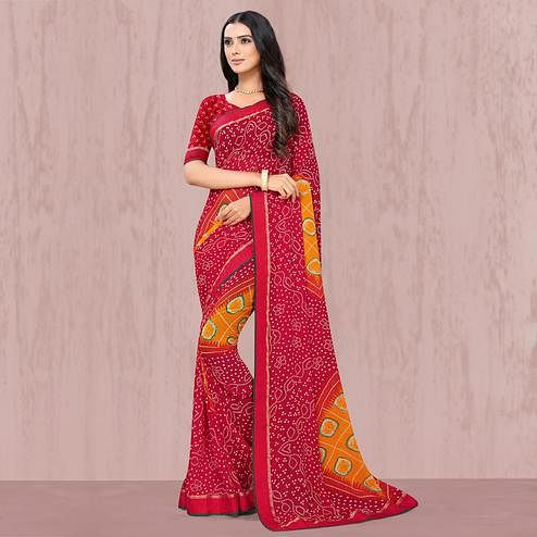 Beautiful Red Coloured Casual Wear Georgette Saree