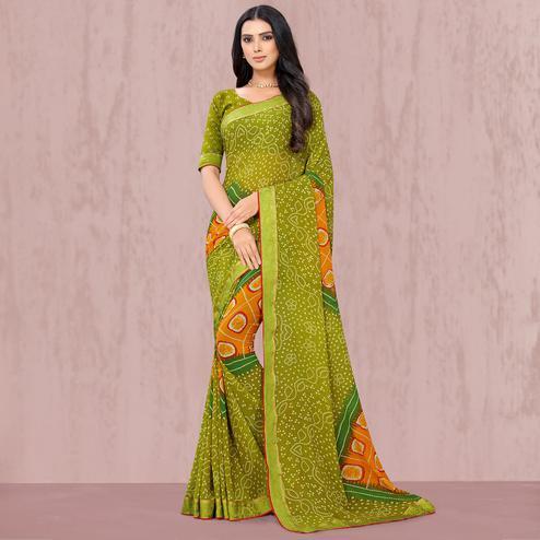 Graceful Green Coloured Casual Wear Georgette Saree