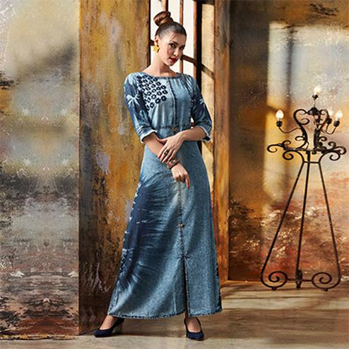 Trendy Blue Designer Pattern Embroidered Denim Kurti