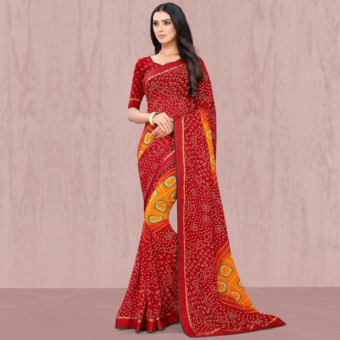 Blooming Dark Red Coloured Casual Wear Georgette Saree