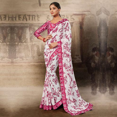 Amazing White-Pink Coloured Printed Casual Wear Georgette Saree