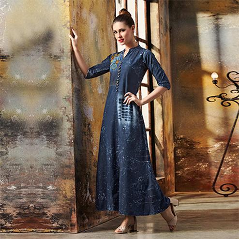 Glorious Blue Designer Pattern Embroidered Denim Kurti