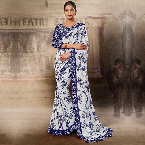 Gorgeous White-Blue Coloured Printed Casual Wear Georgette Saree