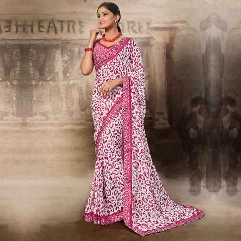 Blissful White-Pink Coloured Printed Casual Wear Georgette Saree