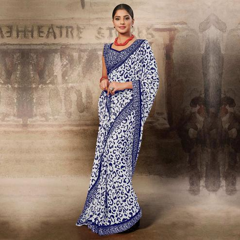 Ideal White-Blue Coloured Printed Casual Wear Georgette Saree