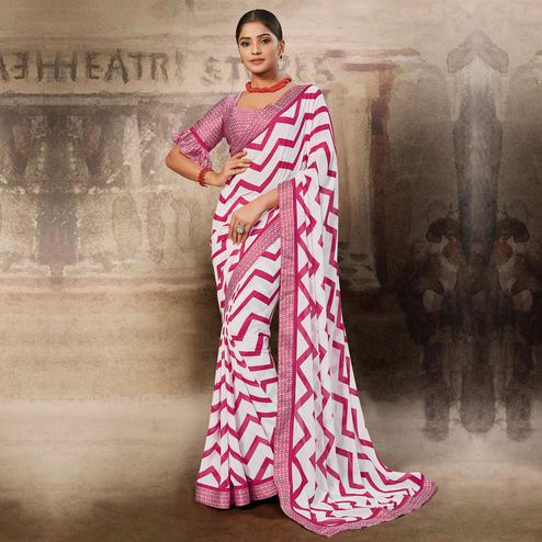 Imposing White-Pink Coloured Printed Casual Wear Georgette Saree