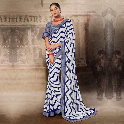 Lovely White-Blue Coloured Printed Casual Wear Georgette Saree