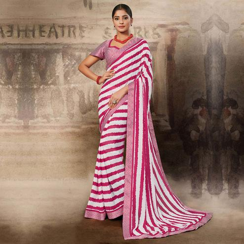 Majesty White-Pink Coloured Printed Casual Wear Georgette Saree