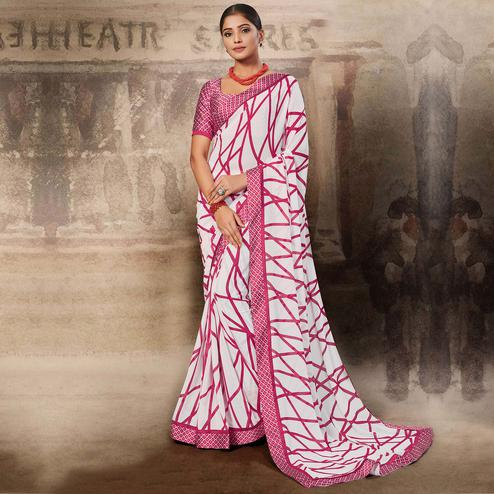 Mesmerising White-Pink Coloured Printed Casual Wear Georgette Saree