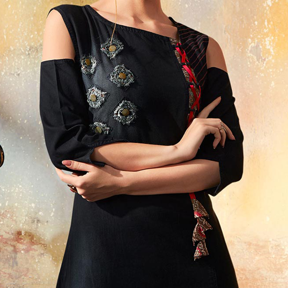 Stylish Black Designer Pattern Embroidered Denim Kurti