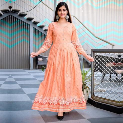 Mialo - Peach Colored Printed Rayon Anarkali Kurti