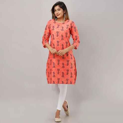 Mialo - Peach Colored Casual Jhumka Print Straight Kurta
