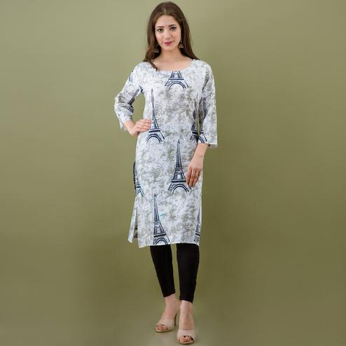 Mialo - Beige Colored Effil Tower Print Straight Cotton Kurta