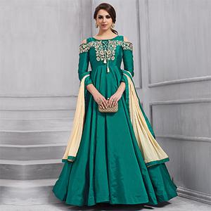 Stunning Green Embroidered Designer Tapeta Silk Gown