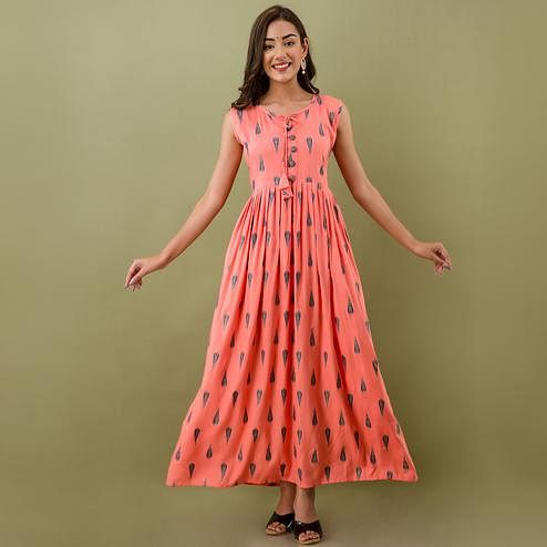 Mialo - Peach Colored Casual Printed Sleeveless Rayon Anarkali Kurti