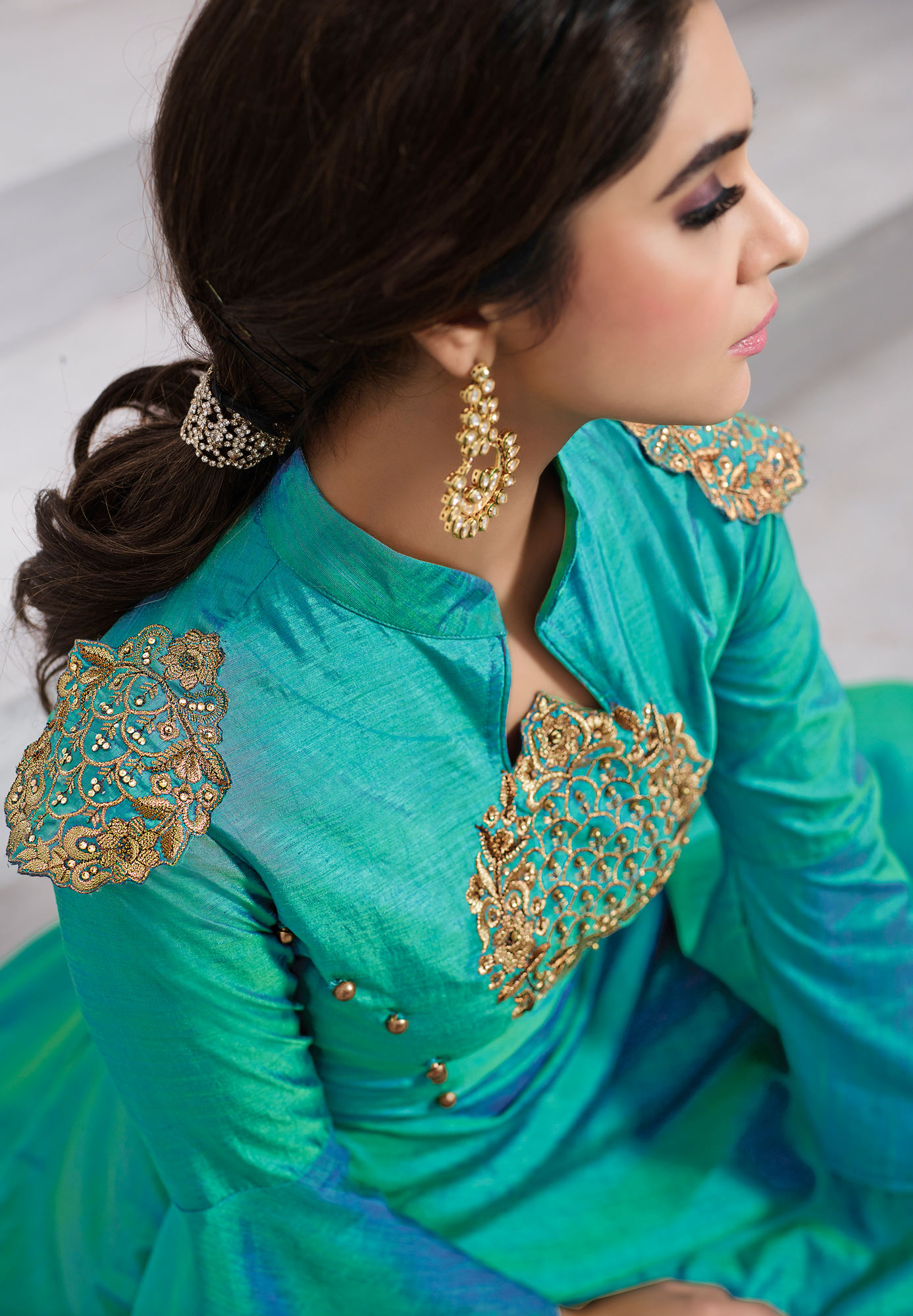 Classy Green Embroidered Designer Tapeta Silk Gown