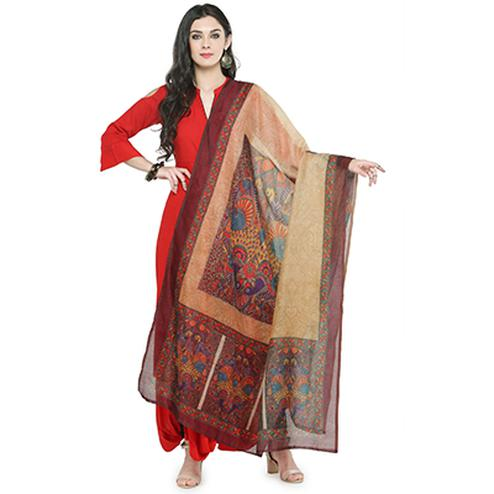 Beige Colored Digital Printed Chanderi Silk Dupatta