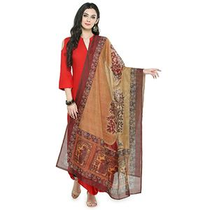 Beige-Brown Colored Digital Printed Chanderi Silk Dupatta