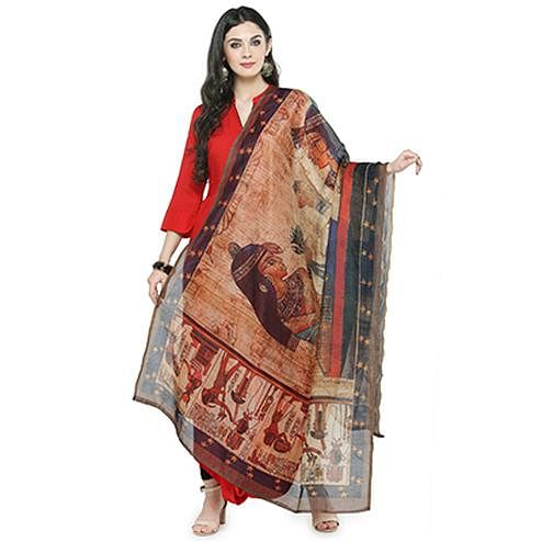 Stylish Multi Colored Digital Human Figures Printed Chanderi Silk Dupatta