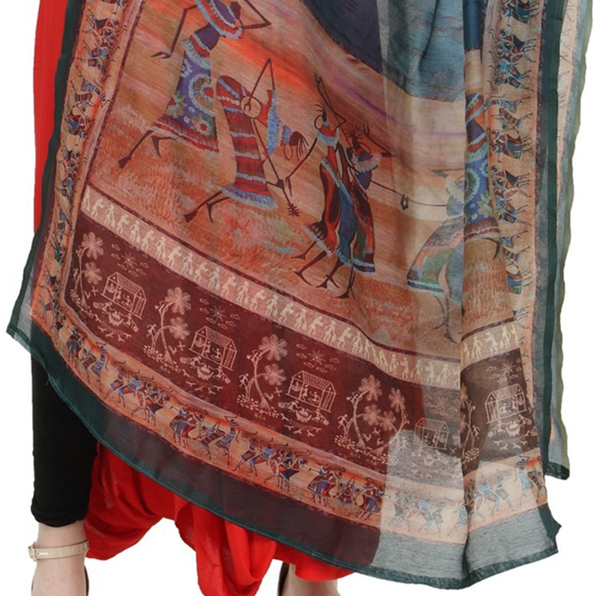 Blue Colored Digital Warli Printed Chanderi Silk Dupatta
