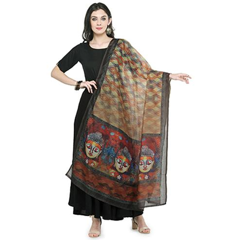 Classy Multi Colored Digital Printed Chanderi Silk Dupatta