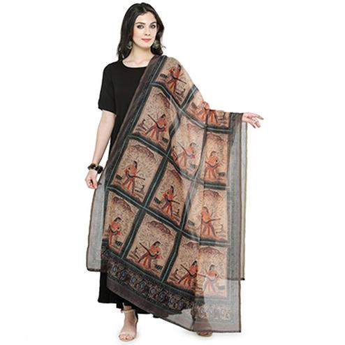 Elegant Multi Colored Digital Human Figures Printed Chanderi Silk Dupatta