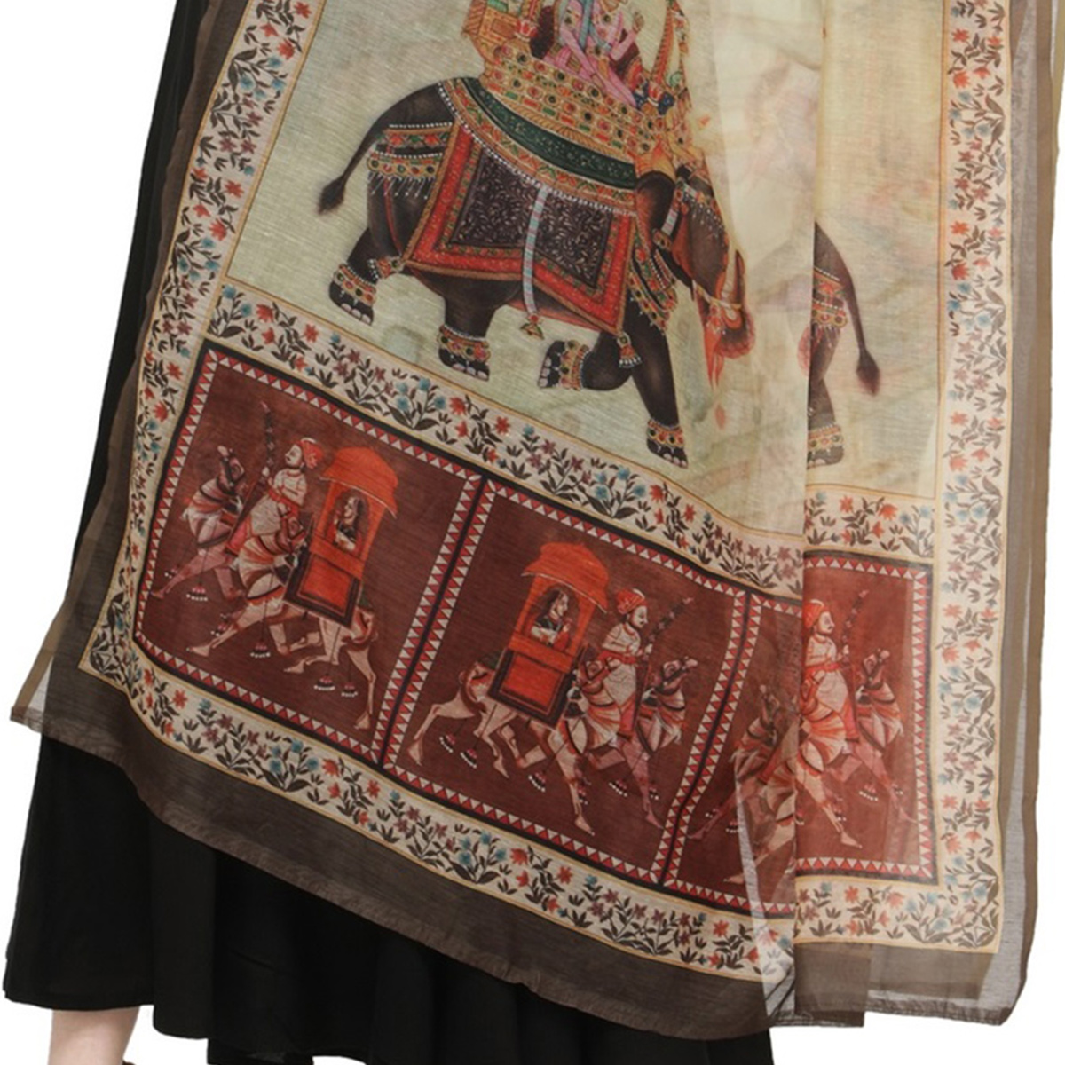 Elegant Green Colored Digital Human Figures Printed Chanderi Silk Dupatta