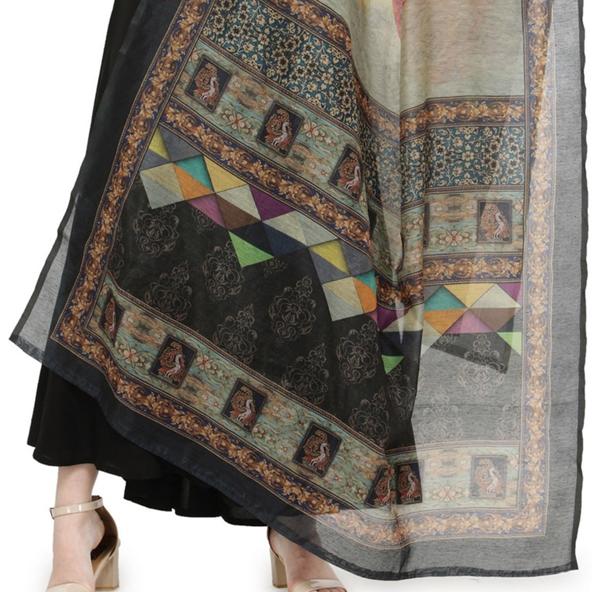 Graceful Black-Gray Colored Digital Printed Chanderi Silk Dupatta