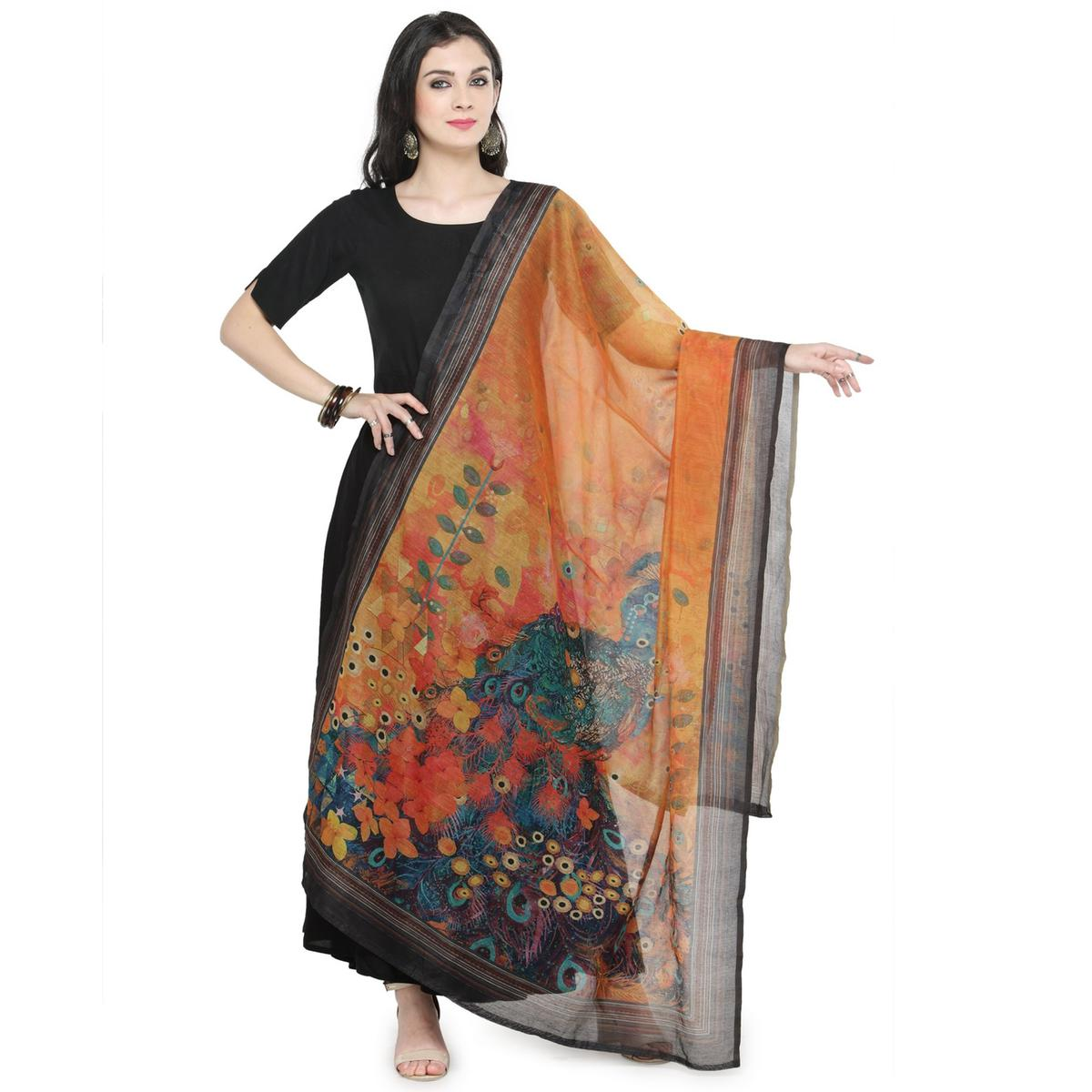 Orange Colored Digital Printed Chanderi Silk Dupatta