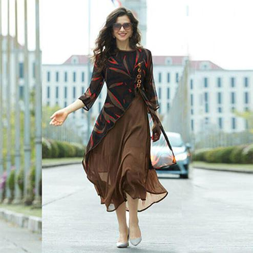 Black - Brown Layered Georgette Kurti