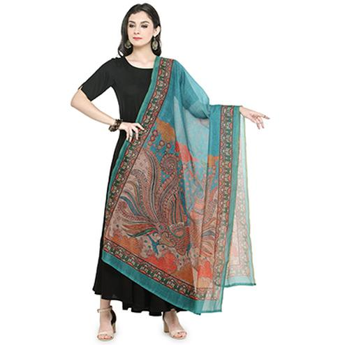 Blooming Blue Colored Digital Printed Chanderi Silk Dupatta