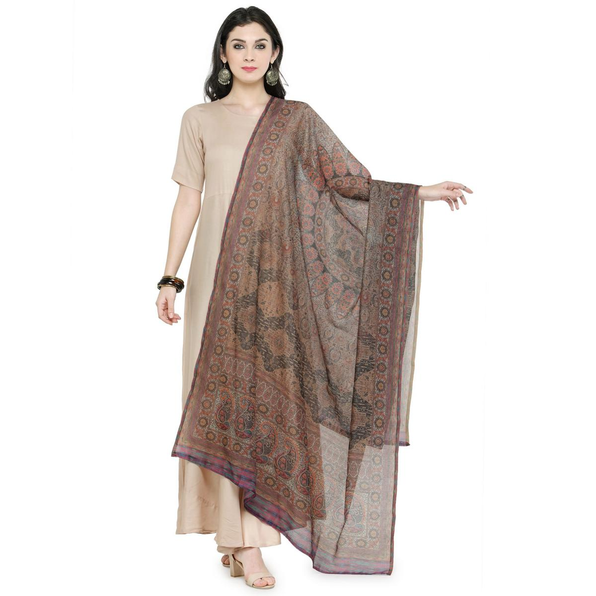 Multi Colored Digital Printed Chanderi Silk Dupatta