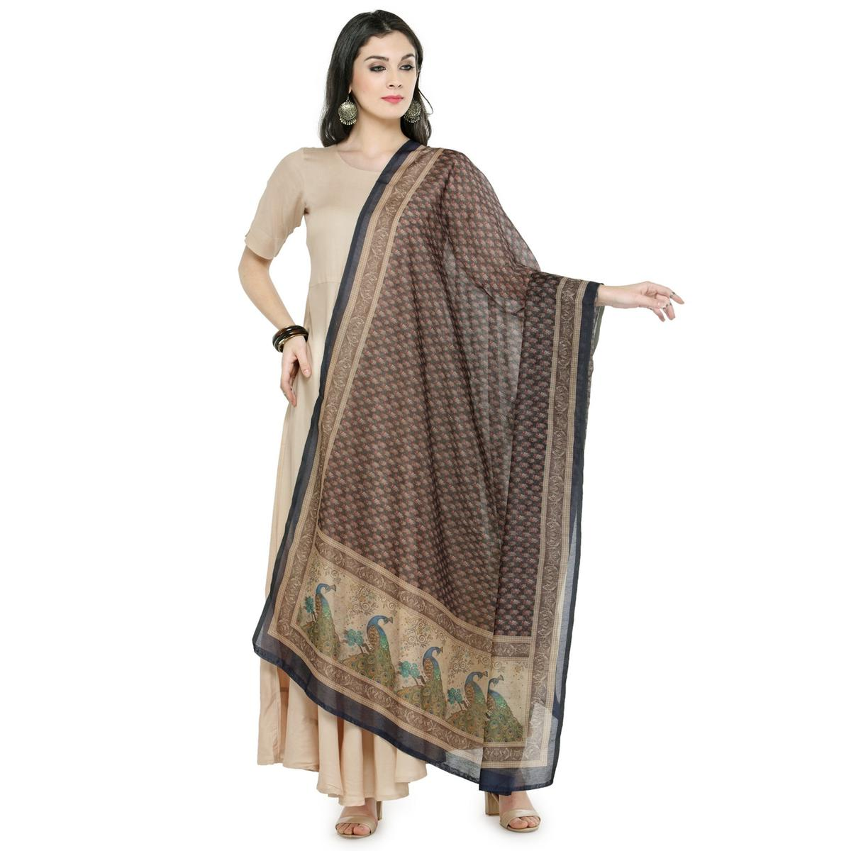 Classy Black Colored Digital Peacock Printed Chanderi Silk Dupatta