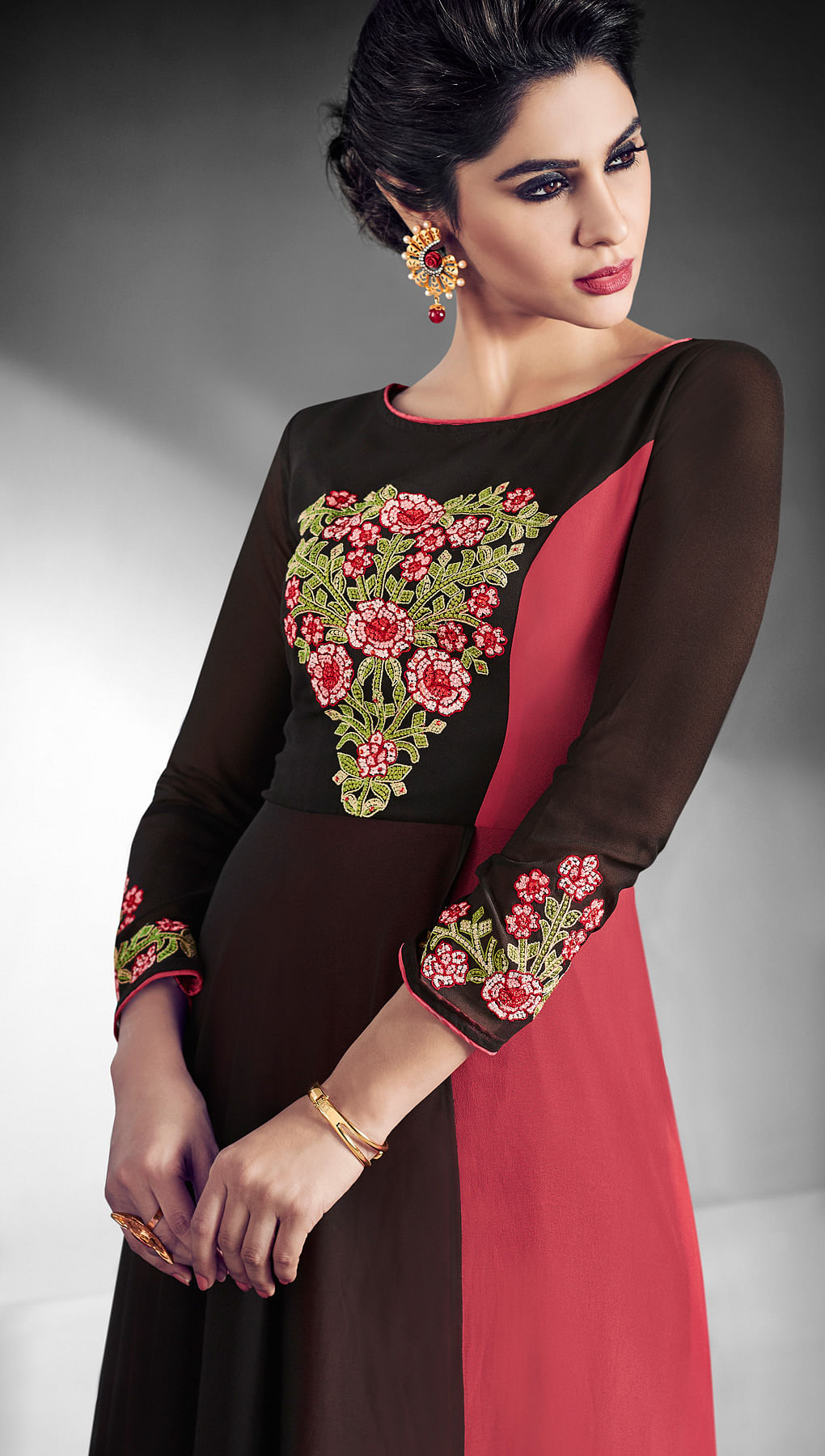 Charming Black - Pink Designer Embroidered Georgette Gown