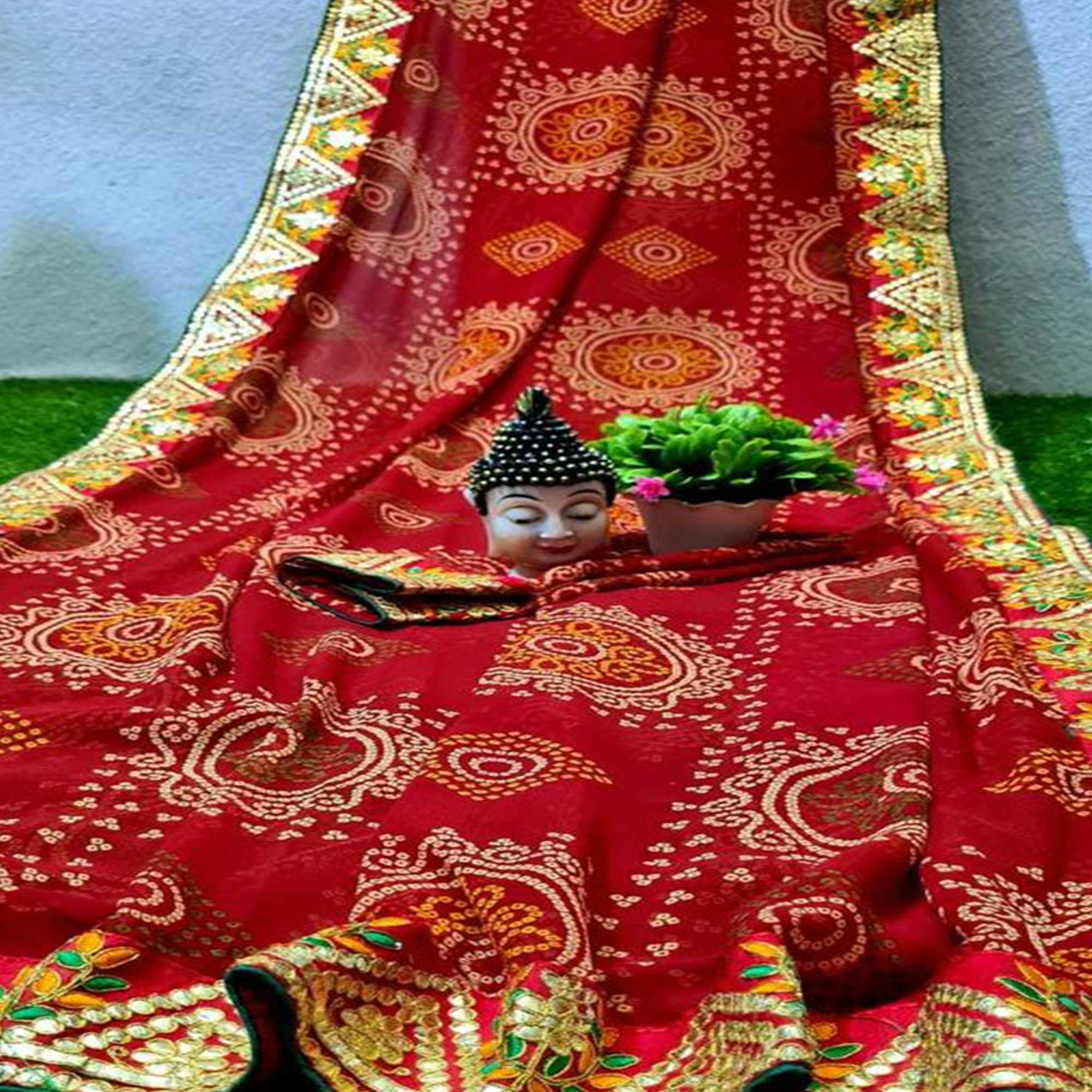 Graceful Red Coloured Casual Wear Printed Georgette Saree