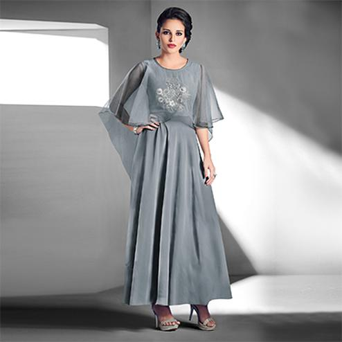 Graceful Grey Designer Embroidered Georgette Gown