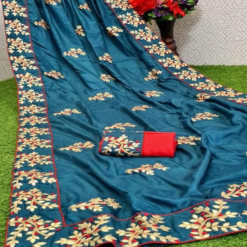 Blissful Blue Coloured Casual Wear Printed Dola Silk Saree