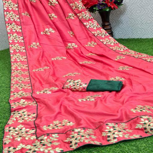 Ideal Pink Coloured Casual Wear Printed Dola Silk Saree