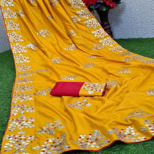 Imposing Yellow Coloured Casual Wear Printed Dola Silk Saree