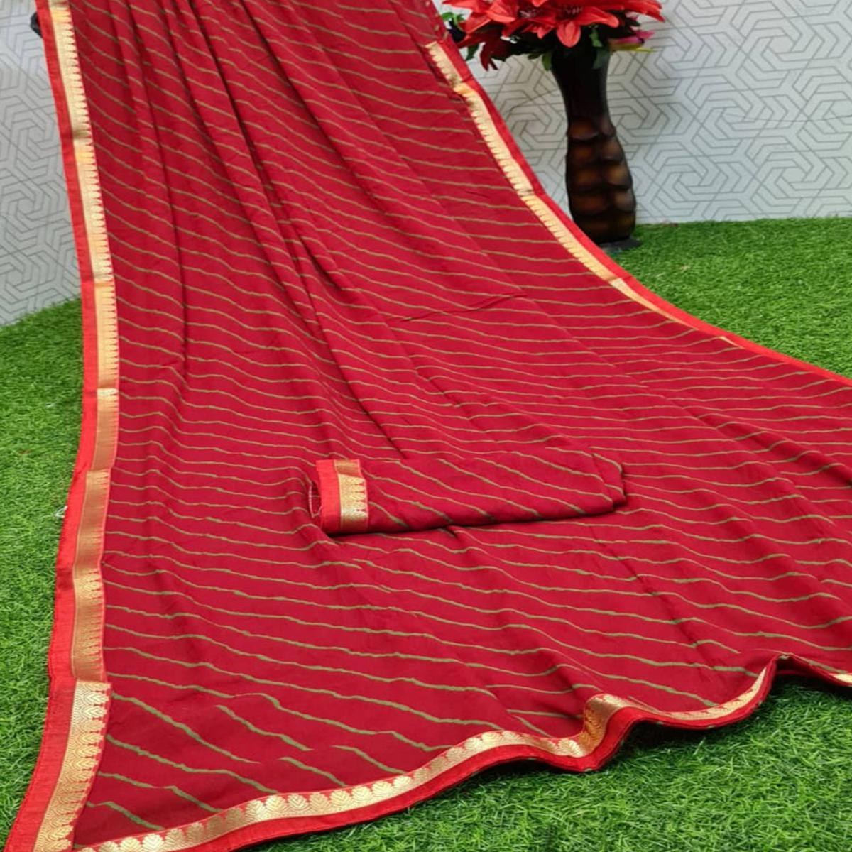 Pleasance Maroon Coloured Casual Wear Printed Moss Georgette Saree