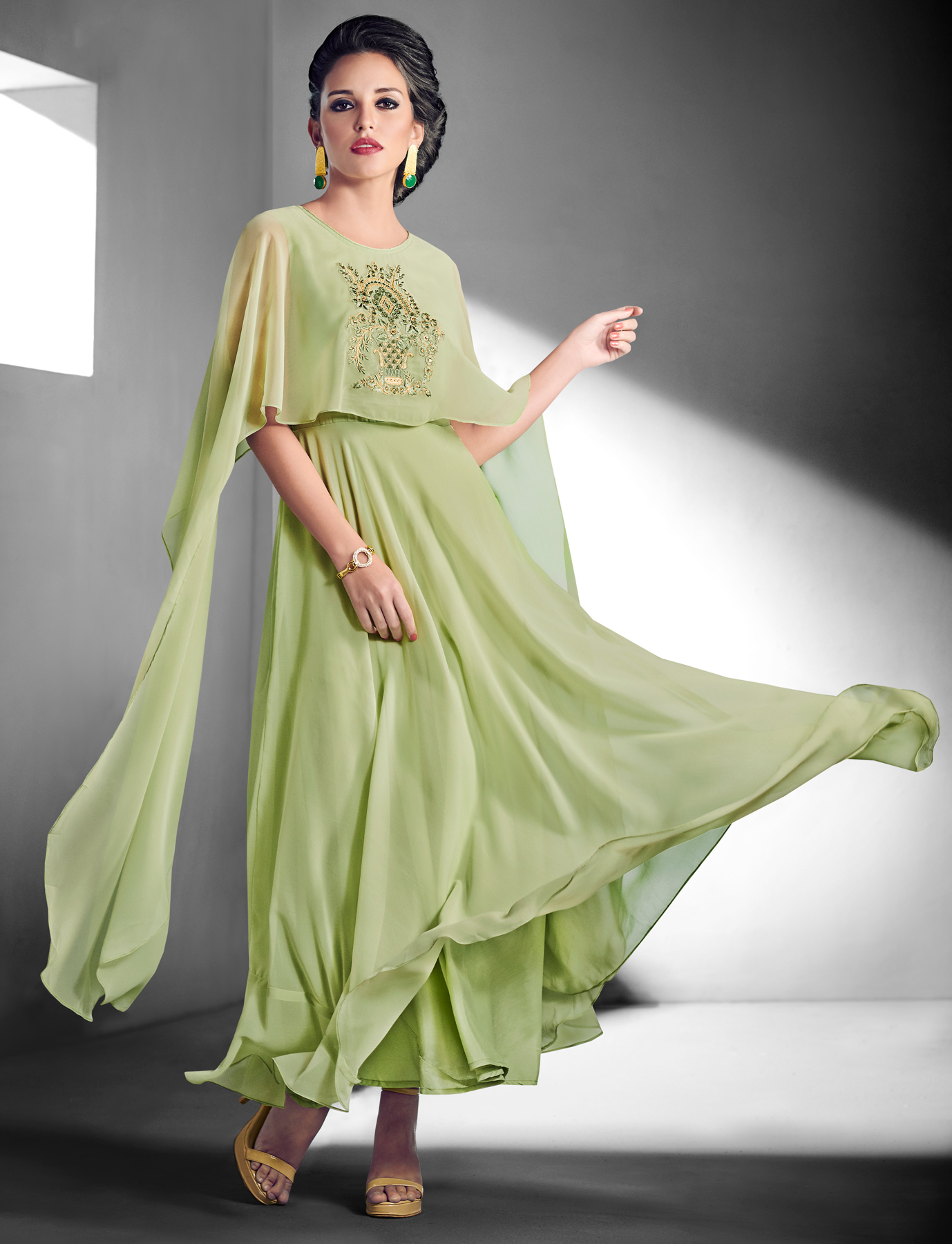 Blooming Light green Designer Embroidered Georgette Gown