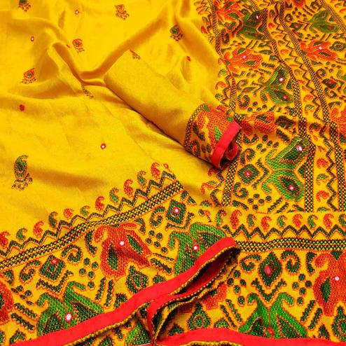 Surpassing Yellow Coloured Casual Wear Printed Cotton Jute Saree