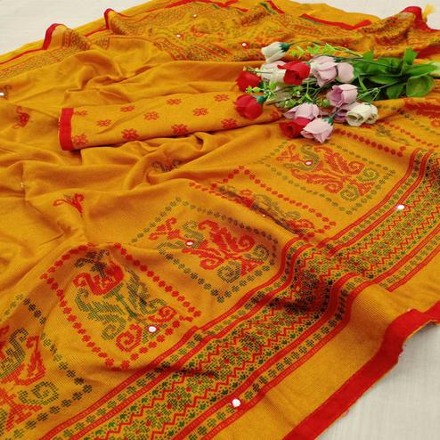 Alluring Mustard Coloured Casual Wear Printed Cotton Jute Saree