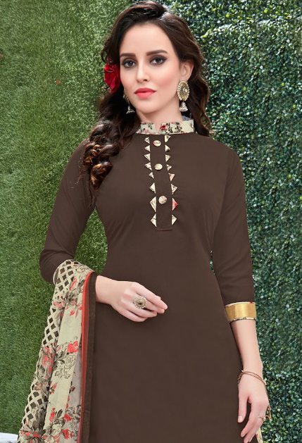 Beautiful Brown Colored Casual Wear Printed Heavy Crape Patiala Dress Material