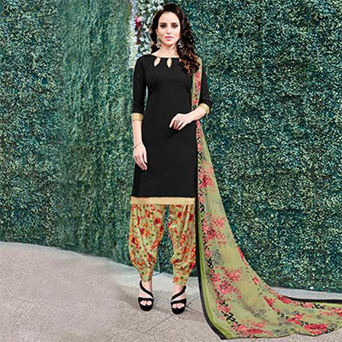 Stunning Black Colored Casual Wear Printed Heavy Crape Patiyala Dress Material