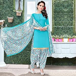 Blooming Blue Colored Casual Wear Printed Heavy Crape Patiyala Dress Material